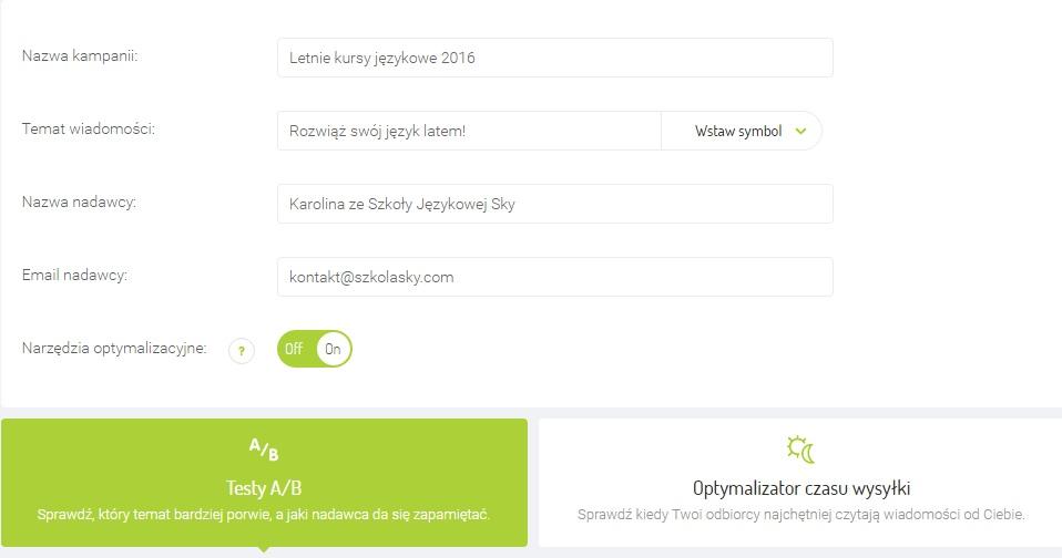 Screen z systemu Freshmail dot. tworzenia pól tematu i nadawcy