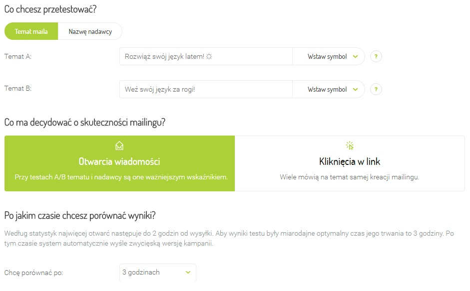 Screen z systemu Freshmail dot. testów A/B