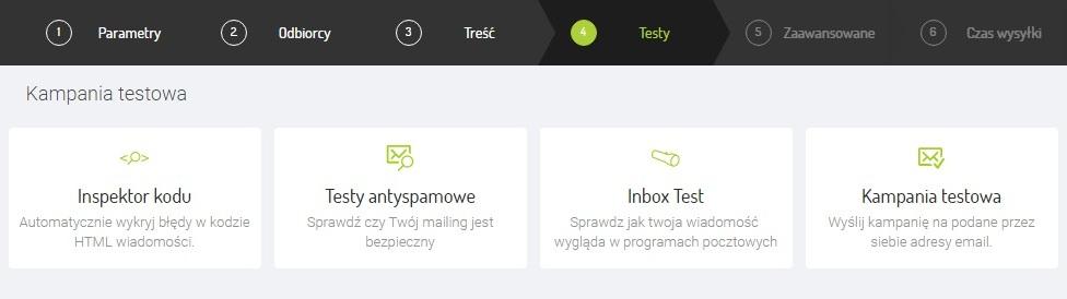Screen z systemu Freshmail dot. testowania gotowego mailingu