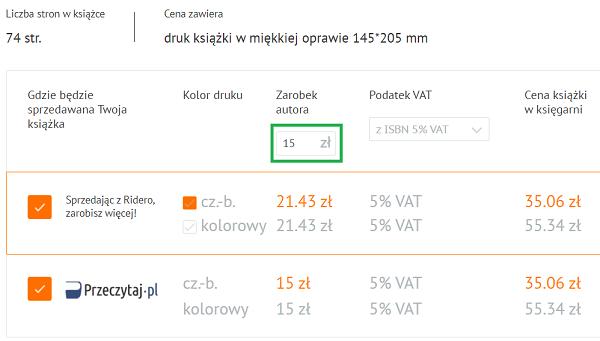 Ustalanie ceny książki i ebooka